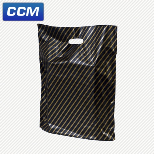 Black & gold striped carrier bags