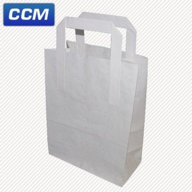 White kraft flat handle carriers